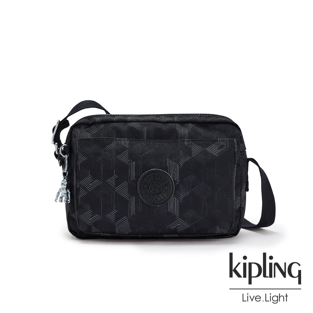 Kipling 幾何圖騰黑多層隨身斜背包-ABANU M