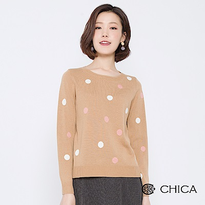 CHICA 青春手札配色圓點圓領針織衫(2色)