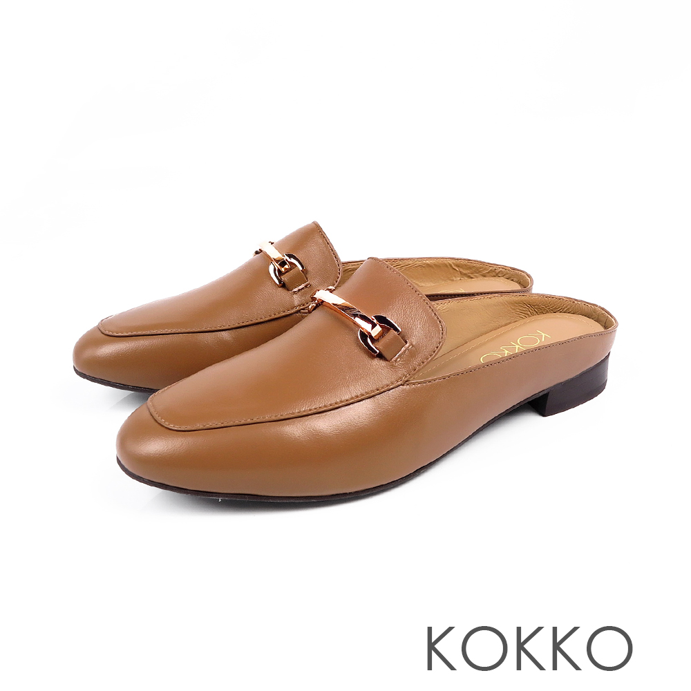 KOKKO -  最遙遠的距離綿羊皮方頭穆勒鞋-焦糖棕
