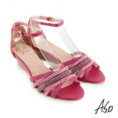 A.S.O 時尚流行 亮眼魅力民族串珠條帶風格楔型跟鞋-桃粉紅