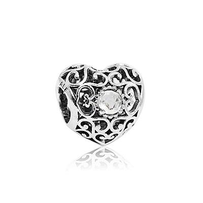 Pandora 潘朵拉 四月白水晶石銀色愛心 純銀墜飾 串珠