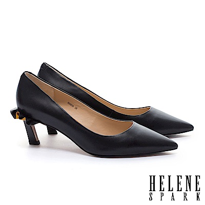 高跟鞋 HELENE SPARK 柔美浪漫荷葉純色尖頭細高跟鞋-黑