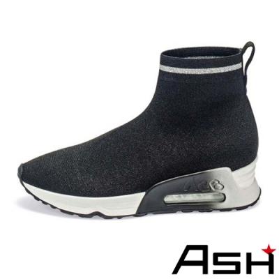 ASH-LOVELY針織輕量增高襪套鞋-黑