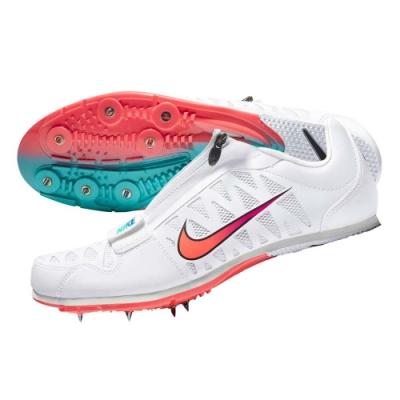 NIKE ZOOM LJ 4 男田徑跳遠鞋-魔鬼氈 附鞋袋 競賽 415339101 白粉紫綠藍