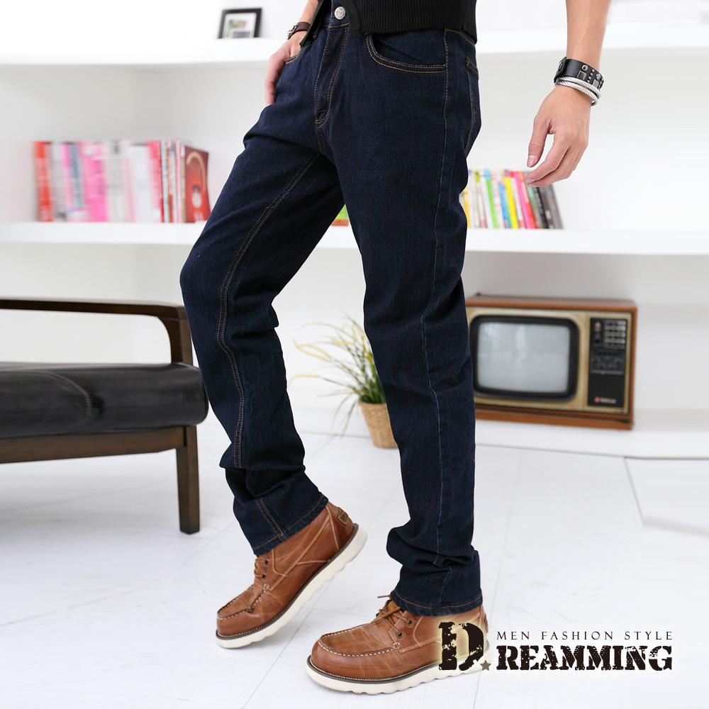 Dreamming 韓風原色彈力小直筒牛仔褲-深藍