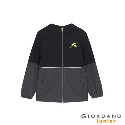 GIORDANO  童裝3M連帽運動外套 - 09 標誌黑X深花灰