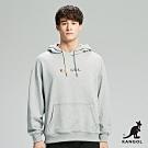 【KANGOL】Oversize彩色LOGO印花連帽上衣/帽T-男-灰