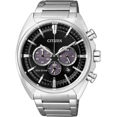 CITIZEN 星辰GENTS 三眼光動能計時腕錶-黑45mm(CA4280-53E)