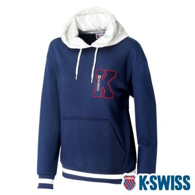 K-SWISS Heritage Hoodie時尚連帽上衣-女-深藍