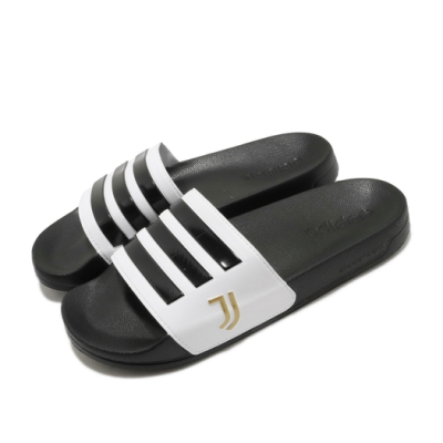 adidas 涼拖鞋 Adilette Shower 休閒 男女鞋 愛迪達 三線 尤文圖斯足球俱樂部 黑 白 FW7075