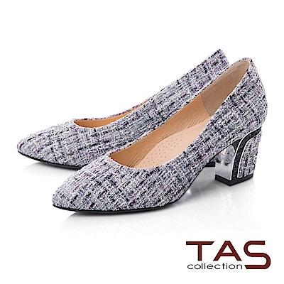 TAS 質感格紋粗跟鞋-神秘紫
