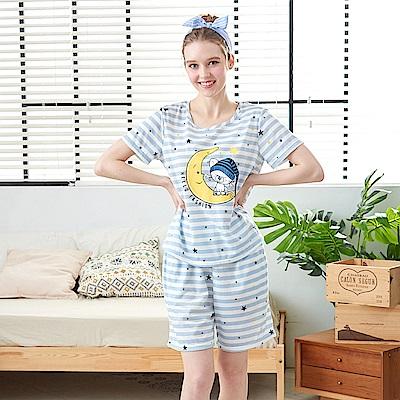 睡衣 貪睡小貓條紋兩件式睡衣 兩色可選(R87005) 蕾妮塔塔