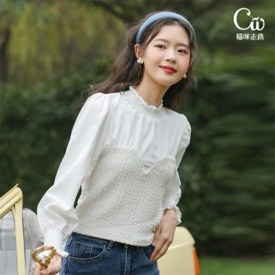[CW.貓咪走路]氣質女孩燈籠袖拼接假兩件雪紡上衣(簡約/百搭/KDT-0742)