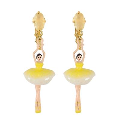 【福利品】Les Nereides 優雅芭蕾舞女孩系列 芭蕾舞女水晶耳環耳夾式 黃色