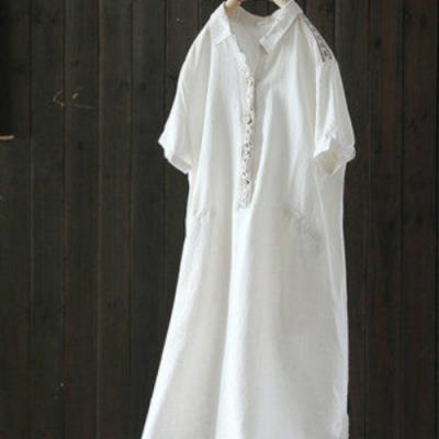 刺繡中長版寬鬆棉麻襯衫裙短袖洋氣洋裝-設計所在