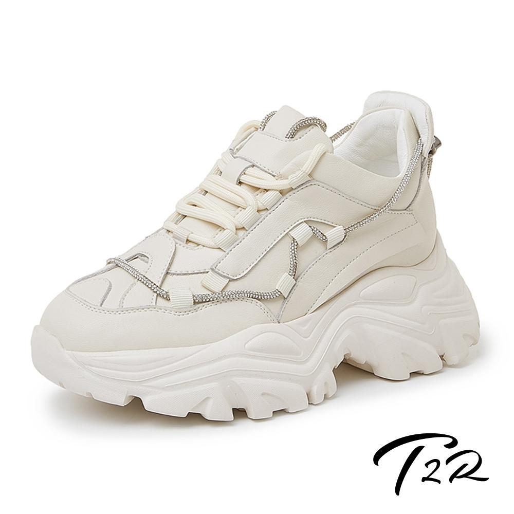 【時時樂限定】T2R-正韓空運-真皮厚底百搭造型增高休閒鞋-水鑽/拼接/素面-多款任選 product image 1