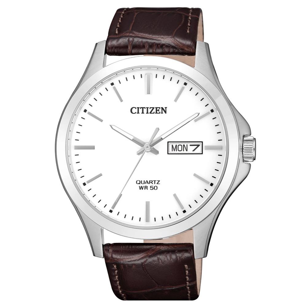 CITIZEN 典藏時光夜光石英腕錶(BF2001-12A)-白x41mm