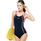 聖手牌 泳裝 曲線紋飾連身三角式女泳裝