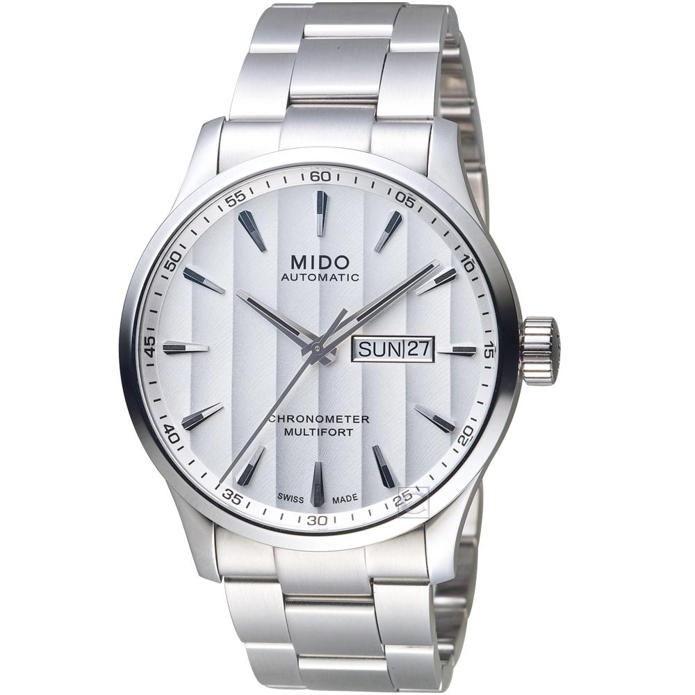 MIDO美度MULTIFORT CHRONOMETER天文台機械錶-銀白鋼