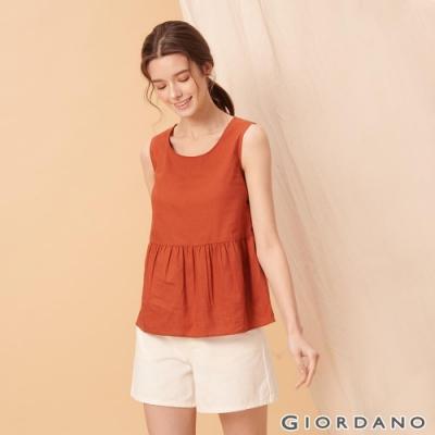 GIORDANO 女裝自然棉麻系列傘狀無袖上衣-25 夕陽紅