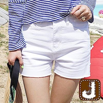 正韓 不修邊性感單寧小短褲-(白色)100%Korea Jeans