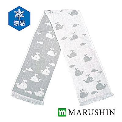 日本丸真 Eco de COOL涼感運動毛巾-灰色鯨魚