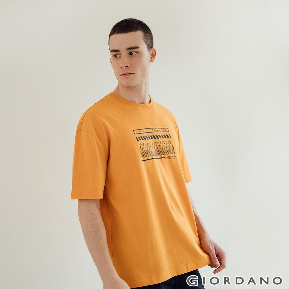 GIORDANO 男裝Mundane印花T恤 - 31 蜜黃