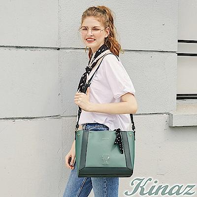 KINAZ x PEANUTS™ 心願手札兩用斜背托特包-薄荷糖綠-勇敢愛系列
