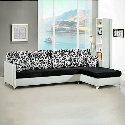 AS-喀爾文雙色百花珠光皮布面右L型沙發265x170x90cm