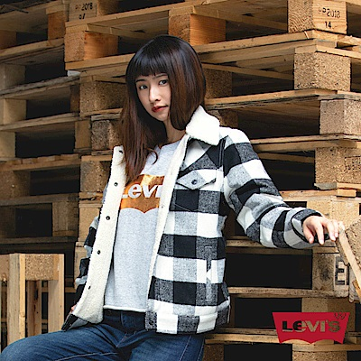 Levis 羊毛格紋外套 女裝 Boyfriend 寬鬆版型 Sherpa 棉花絨