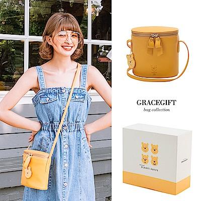 Disney collection by Grace gift小熊維尼壓紋雙拉鍊圓筒側背包