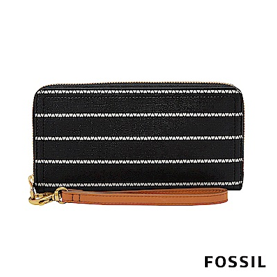 FOSSIL LOGAN RFID 防潑水拉鍊零錢袋長夾-黑白愛心條紋 SL7828005
