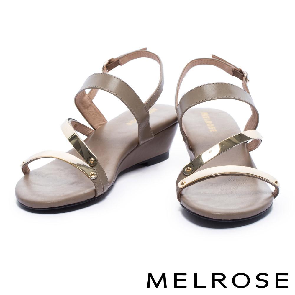 涼鞋 MELROSE 時尚金屬質感層次繞帶牛皮楔型涼鞋-米