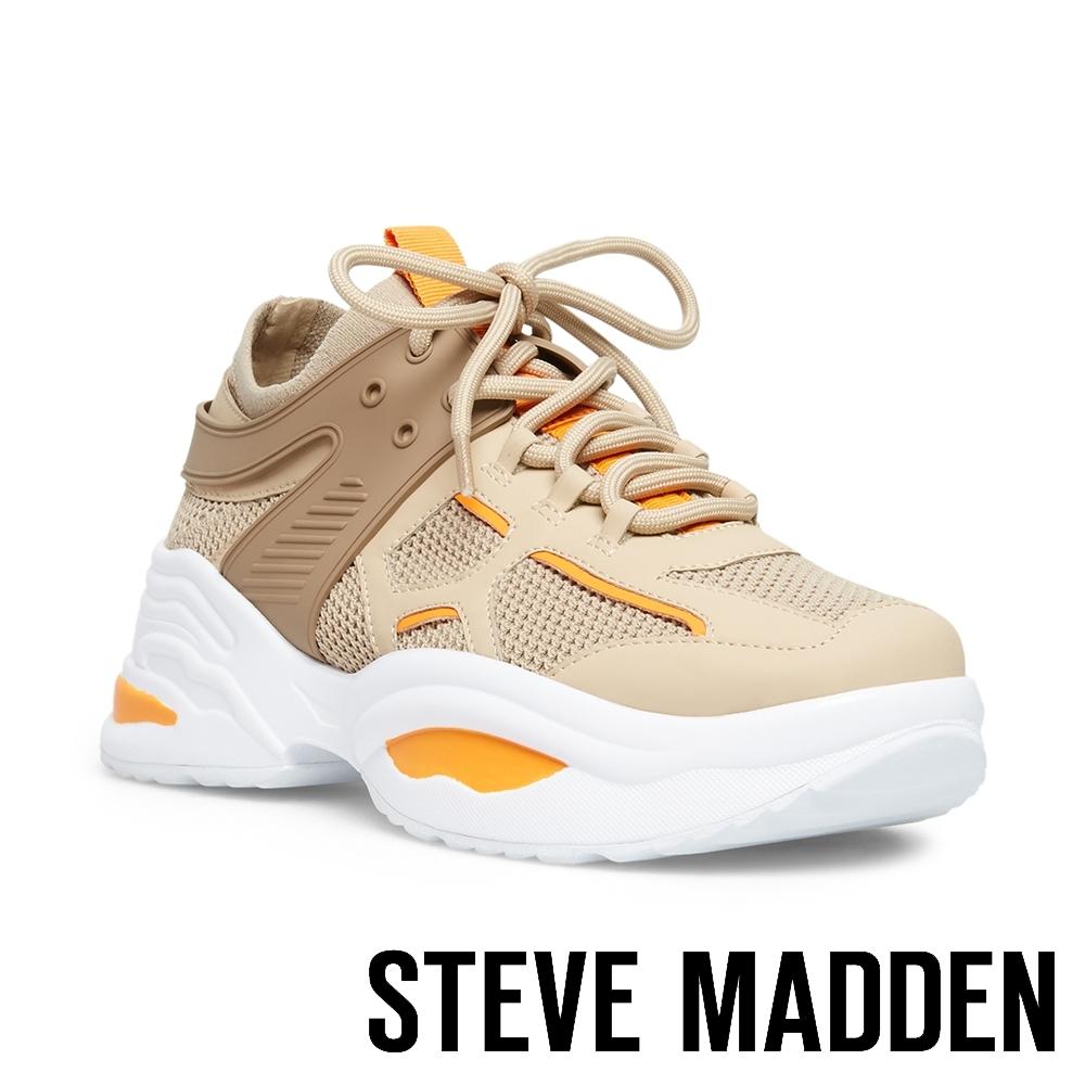 STEVE MADDEN-FONTINA 潮流款透氣網布拼接時尚老爹鞋-橘色