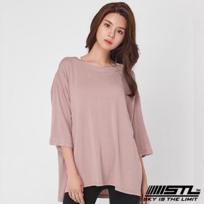 STL Chalang Trim T-shirt 韓運動一字領落肩長版上衣 苗條粉