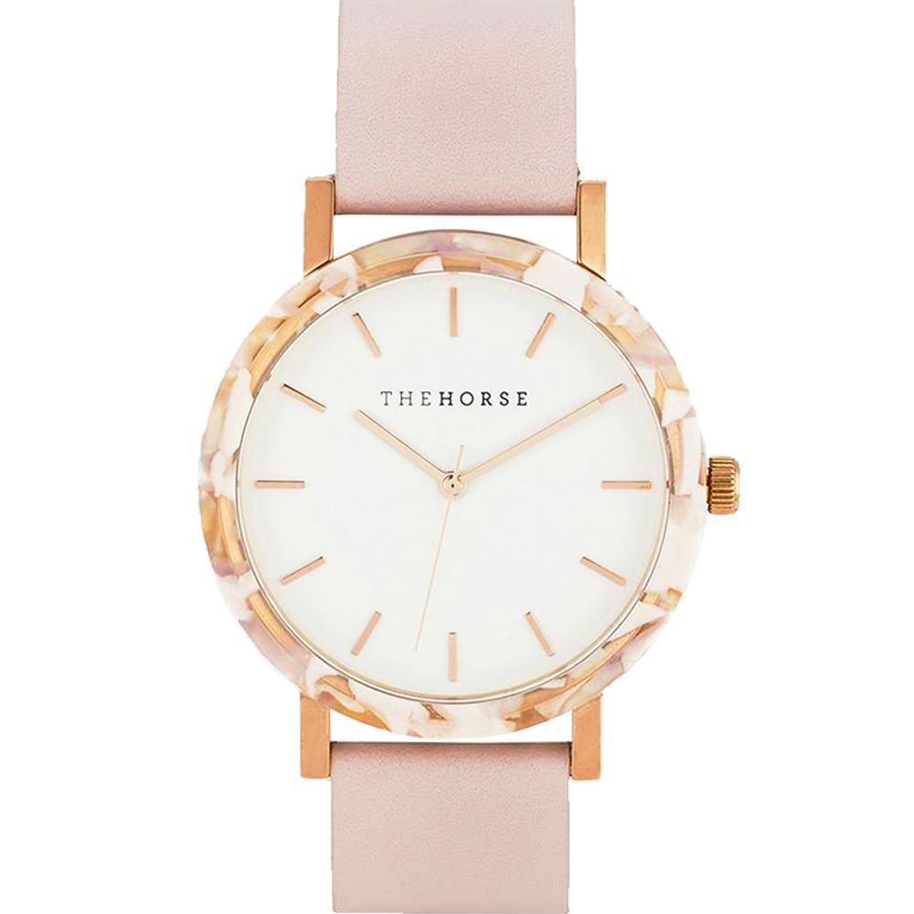 THE HORSE 粉紅琥珀真皮革腕錶 –白色/42mm