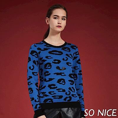 SO NICE時尚豹紋鑽飾針織上衣