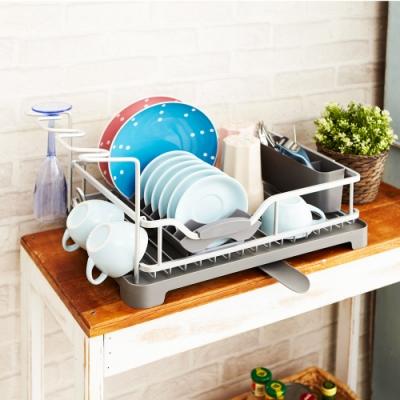 【ikloo】鋁製萬用碗盤瀝水架/收納架