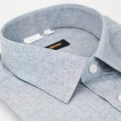 【金‧安德森】灰色漸層格紋窄版長袖襯衫fast