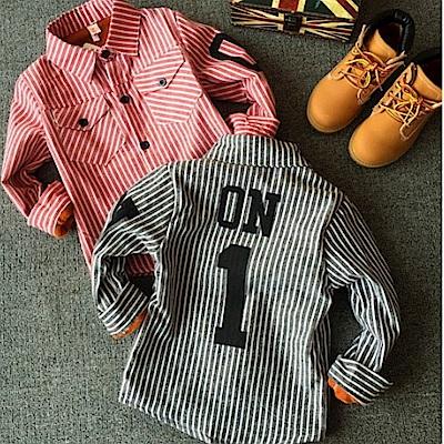 小衣衫童裝   韓味休閒條紋數字加絨襯衫1041211