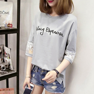 Lockers 木櫃 韓版拼接半袖蕾絲字母刺繡寬鬆上衣/T恤-3色