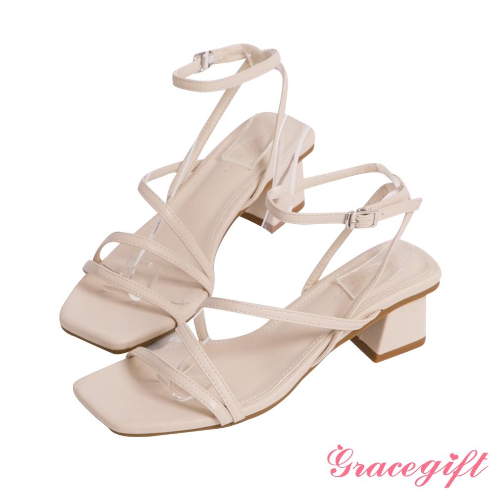 Grace gift-Z字細帶繞踝中跟涼鞋 米白