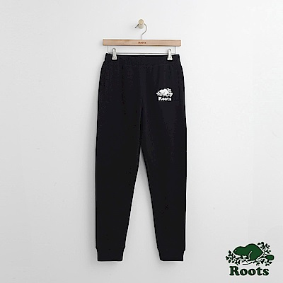 Roots -女裝- 格紋ROOTS修身棉褲 - 黑