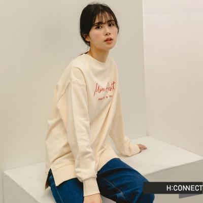 H:CONNECT 韓國品牌 女裝 -馬卡龍色系繡字大學T-卡其色