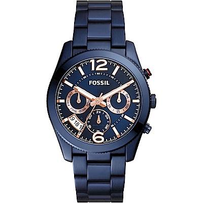 FOSSIL 碧藍之海三眼計時不鏽鋼腕錶-(ES 4093 )- 39 mm