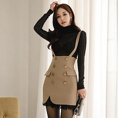DABI 韓國風名媛修身上衣背帶裙套裝長袖裙裝