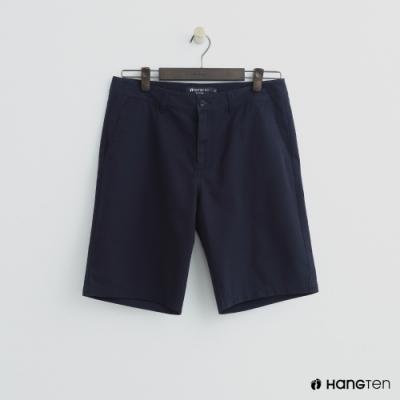 Hang Ten - 男裝 - 素色純面棉質短褲-深藍