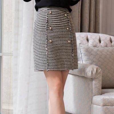 設計所在Lady-性感短裙A字時尚千鳥格一步裙(M-2XL可選)