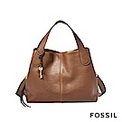 FOSSIL Maya 柔軟真皮多夾層手提/側背兩用包-咖啡色