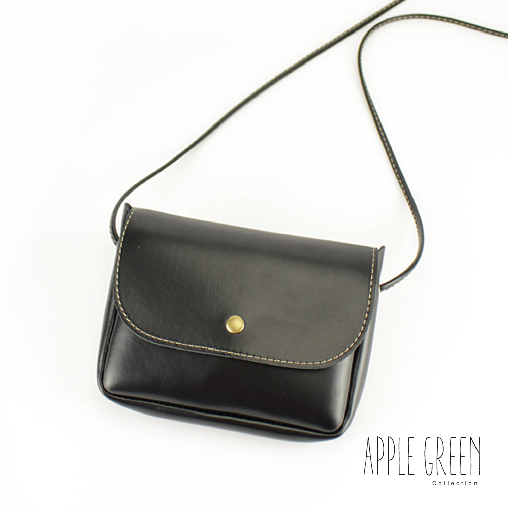 Apple Green 皮革掀蓋迷你斜背包(黑)